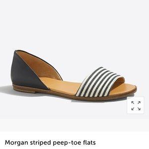 J.crew Morgan striped peep toe flats